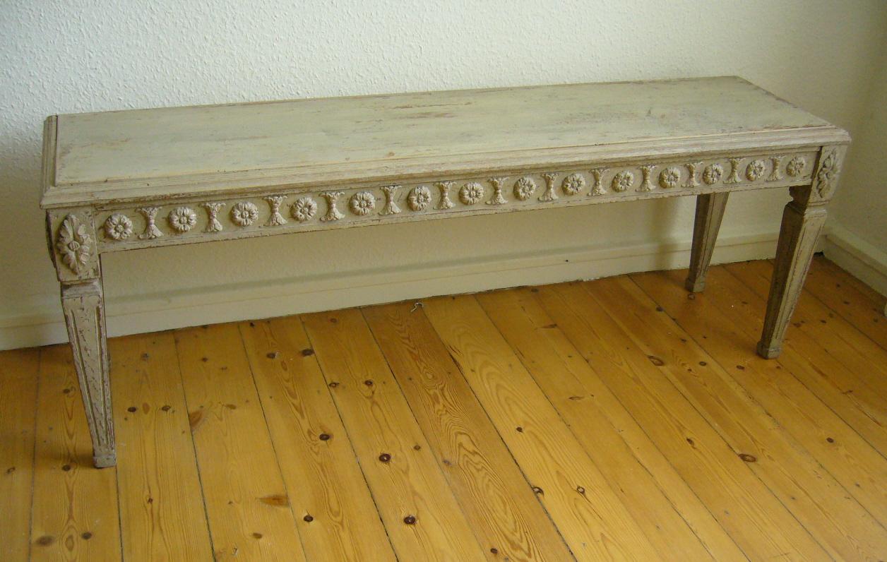 Grey Antique Gustavian Bench